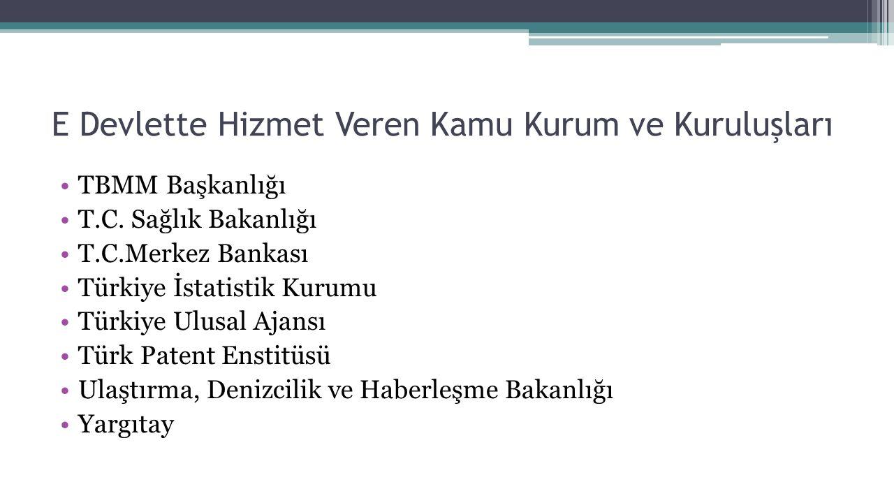 E Devlette Hizmet Veren Kamu Kurum ve Kuruluşları TBMM Başkanlığı T.C. Sağlık Bakanlığı T.C.Merkez Bankası Türkiye İstatistik Kurumu Türkiye Ulusal Aj