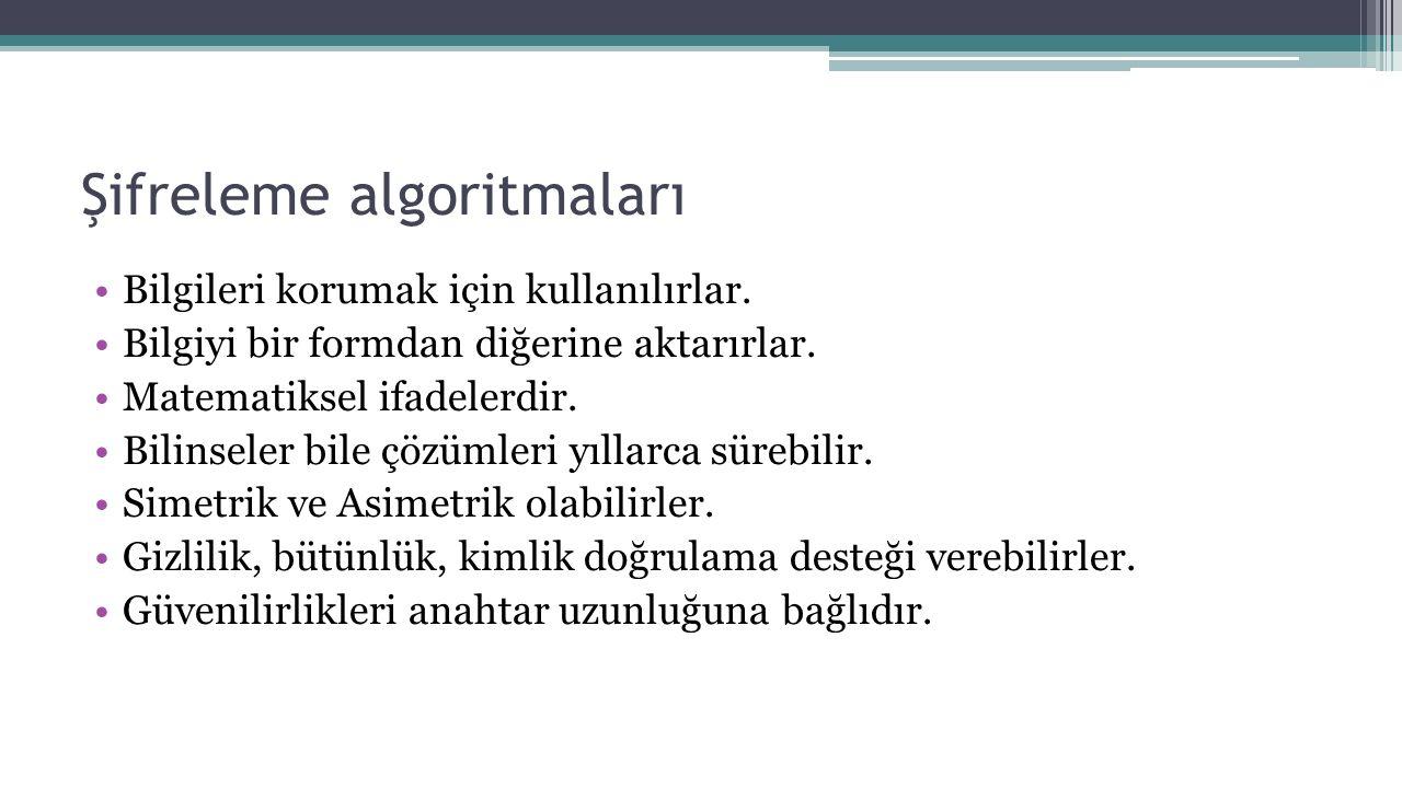 Şifreleme algoritmaları Bilgileri korumak için kullanılırlar. Bilgiyi bir formdan diğerine aktarırlar. Matematiksel ifadelerdir. Bilinseler bile çözüm