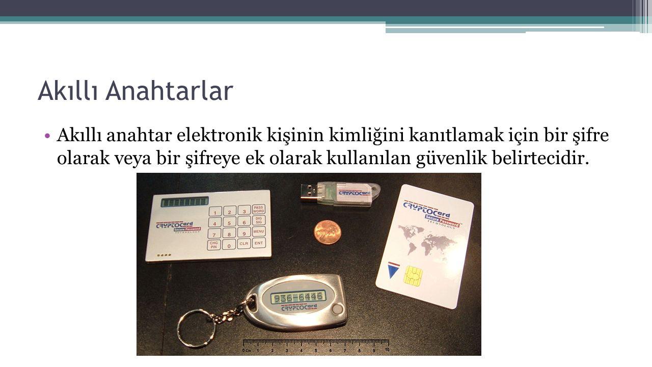 Akıllı Anahtarlar Akıllı anahtar elektronik kişinin kimliğini kanıtlamak için bir şifre olarak veya bir şifreye ek olarak kullanılan güvenlik belirtec