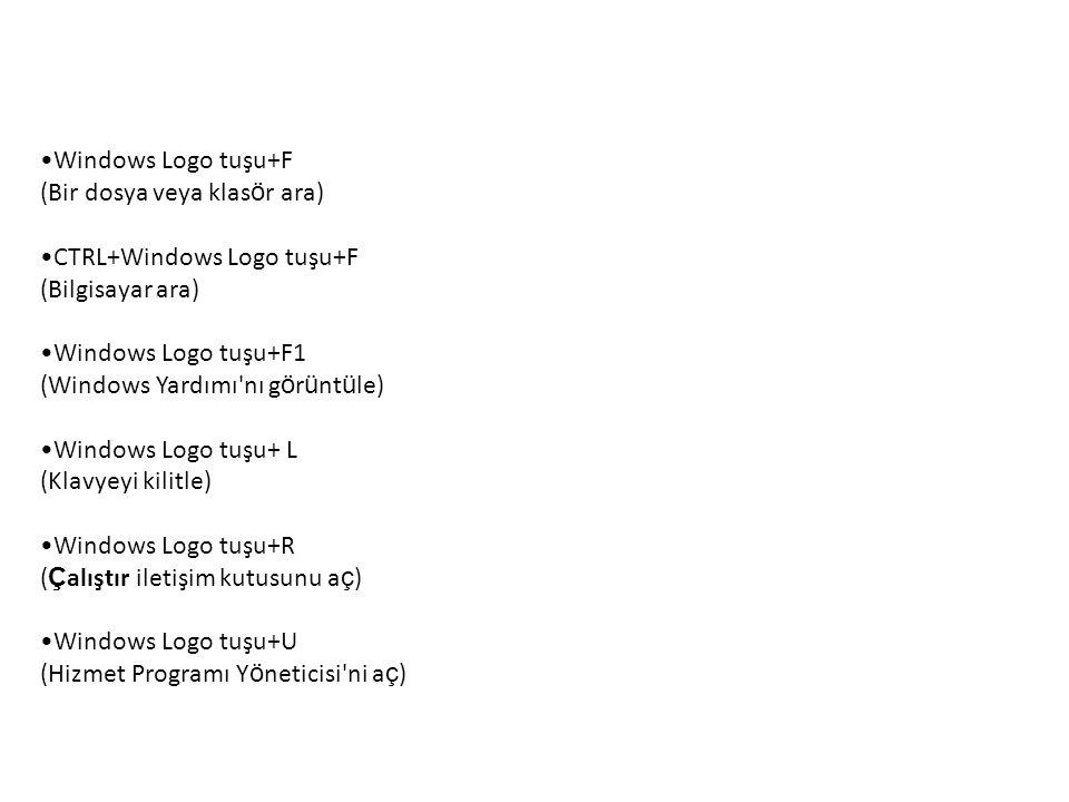 Windows Logo tuşu+F (Bir dosya veya klas ö r ara) CTRL+Windows Logo tuşu+F (Bilgisayar ara) Windows Logo tuşu+F1 (Windows Yardımı nı g ö r ü nt ü le) Windows Logo tuşu+ L (Klavyeyi kilitle) Windows Logo tuşu+R ( Ç alıştır iletişim kutusunu a ç ) Windows Logo tuşu+U (Hizmet Programı Y ö neticisi ni a ç )