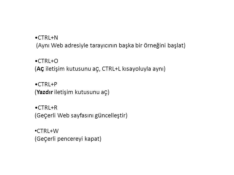 CTRL+N (Aynı Web adresiyle tarayıcının başka bir ö rneğini başlat) CTRL+O (A ç iletişim kutusunu a ç, CTRL+L kısayoluyla aynı) CTRL+P (Yazdır iletişim kutusunu a ç ) CTRL+R (Ge ç erli Web sayfasını g ü ncelleştir) CTRL+W (Ge ç erli pencereyi kapat)