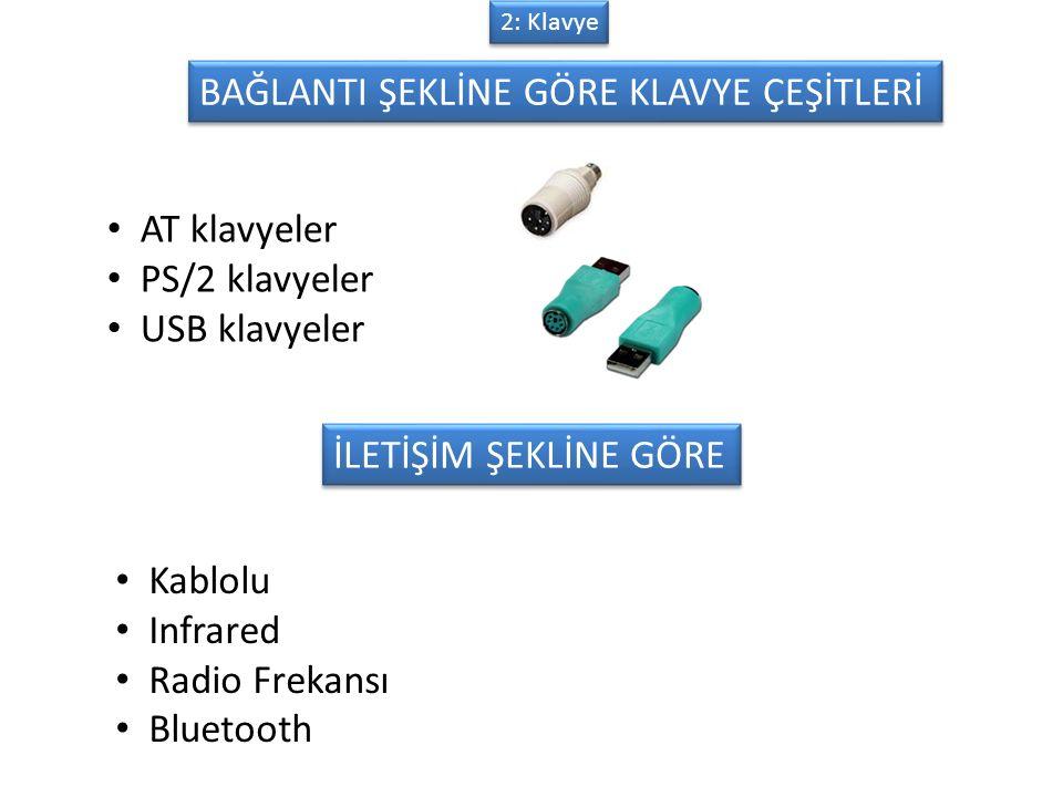 BAĞLANTI ŞEKLİNE GÖRE KLAVYE ÇEŞİTLERİ AT klavyeler PS/2 klavyeler USB klavyeler İLETİŞİM ŞEKLİNE GÖRE Kablolu Infrared Radio Frekansı Bluetooth 2: Klavye