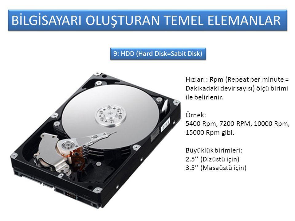 BİLGİSAYARI OLUŞTURAN TEMEL ELEMANLAR 9: HDD (Hard Disk=Sabit Disk) Hızları : Rpm (Repeat per minute = Dakikadaki devir sayısı) ölçü birimi ile belirlenir.
