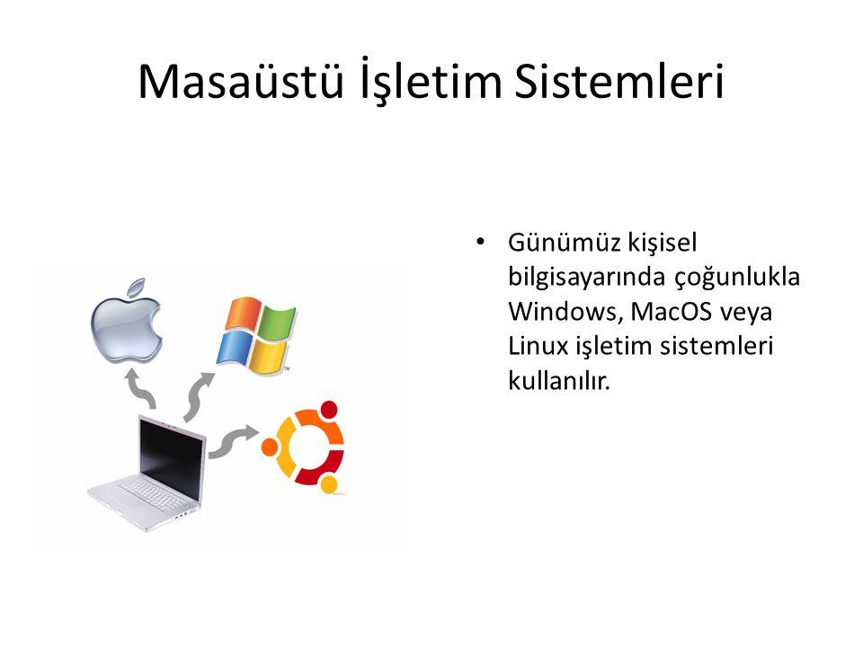 Masaüstü İşletim Sistemleri Günümüz kişisel bilgisayarında çoğunlukla Windows, MacOS veya Linux işletim sistemleri kullanılır.