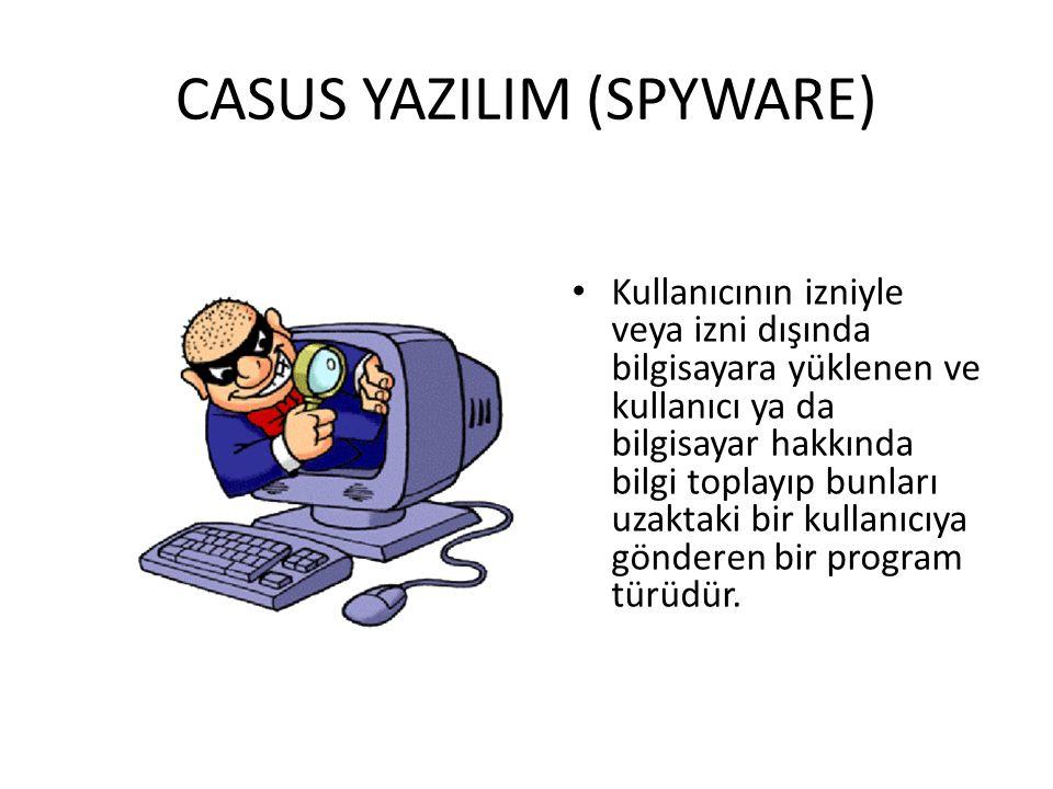 CASUS YAZILIM (SPYWARE) Kullanıcının izniyle veya izni dışında bilgisayara yüklenen ve kullanıcı ya da bilgisayar hakkında bilgi toplayıp bunları uzaktaki bir kullanıcıya gönderen bir program türüdür.