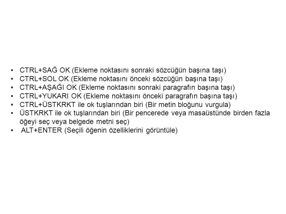 CTRL+SAĞ OK (Ekleme noktasını sonraki sözcüğün başına taşı) CTRL+SOL OK (Ekleme noktasını önceki sözcüğün başına taşı) CTRL+AŞAĞI OK (Ekleme noktasını sonraki paragrafın başına taşı) CTRL+YUKARI OK (Ekleme noktasını önceki paragrafın başına taşı) CTRL+ÜSTKRKT ile ok tuşlarından biri (Bir metin bloğunu vurgula) ÜSTKRKT ile ok tuşlarından biri (Bir pencerede veya masaüstünde birden fazla öğeyi seç veya belgede metni seç) ALT+ENTER (Seçili öğenin özelliklerini görüntüle)