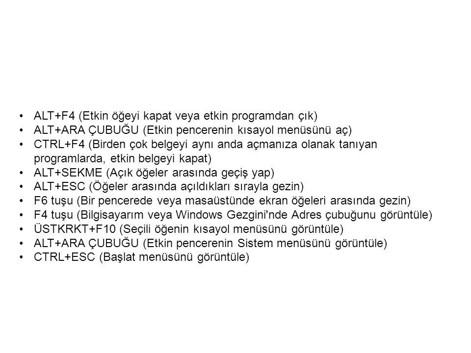 ALT+F4 (Etkin öğeyi kapat veya etkin programdan çık) ALT+ARA ÇUBUĞU (Etkin pencerenin kısayol menüsünü aç) CTRL+F4 (Birden çok belgeyi aynı anda açmanıza olanak tanıyan programlarda, etkin belgeyi kapat) ALT+SEKME (Açık öğeler arasında geçiş yap) ALT+ESC (Öğeler arasında açıldıkları sırayla gezin) F6 tuşu (Bir pencerede veya masaüstünde ekran öğeleri arasında gezin) F4 tuşu (Bilgisayarım veya Windows Gezgini nde Adres çubuğunu görüntüle) ÜSTKRKT+F10 (Seçili öğenin kısayol menüsünü görüntüle) ALT+ARA ÇUBUĞU (Etkin pencerenin Sistem menüsünü görüntüle) CTRL+ESC (Başlat menüsünü görüntüle)