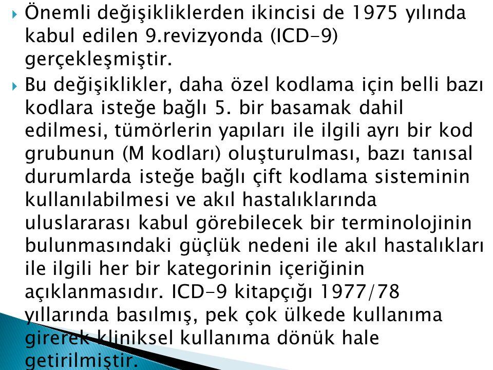  Önemli değişikliklerden ikincisi de 1975 yılında kabul edilen 9.revizyonda (ICD-9) gerçekleşmiştir.  Bu değişiklikler, daha özel kodlama için belli