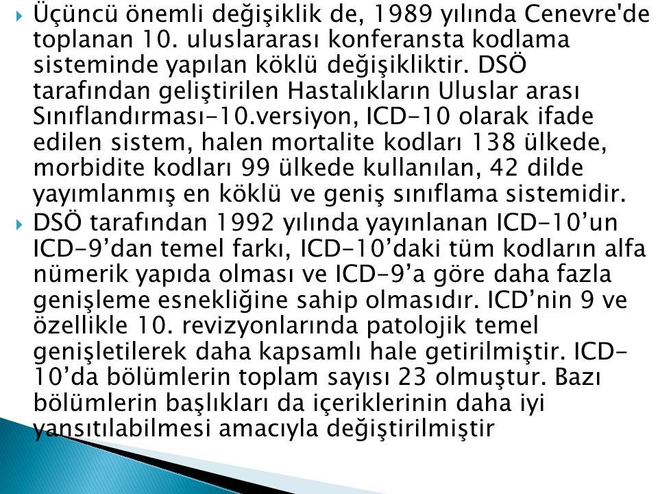  Üçüncü önemli değişiklik de, 1989 yılında Cenevre'de toplanan 10. uluslararası konferansta kodlama sisteminde yapılan köklü değişikliktir. DSÖ taraf