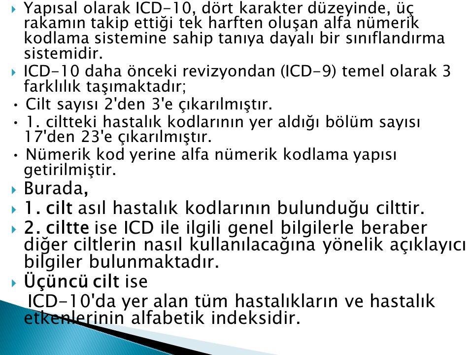  Yapısal olarak ICD-10, dört karakter düzeyinde, üç rakamın takip ettiği tek harften oluşan alfa nümerik kodlama sistemine sahip tanıya dayalı bir sınıflandırma sistemidir.