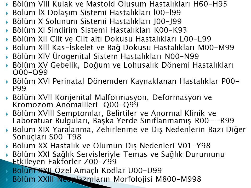  Bölüm Vlll Kulak ve Mastoid Oluşum Hastalıkları H60-H95  Bölüm lX Dolaşım Sistemi Hastalıkları l00-l99  Bölüm X Solunum Sistemi Hastalıkları J00-J99  Bölüm Xl Sindirim Sistemi Hastalıkları K00-K93  Bölüm Xll Cilt ve Cilt altı Dokusu Hastalıkları L00-L99  Bölüm Xlll Kas-İskelet ve Bağ Dokusu Hastalıkları M00-M99  Bölüm XlV Ürogenital Sistem Hastalıkları N00-N99  Bölüm XV Gebelik, Doğum ve Lohusalık Dönemi Hastalıkları O00-O99  Bölüm XVl Perinatal Dönemden Kaynaklanan Hastalıklar P00- P99  Bölüm XVll Konjenital Malformasyon, Deformasyon ve Kromozom Anomalileri Q00-Q99  Bölüm XVlll Semptomlar, Belirtiler ve Anormal Klinik ve Laboratuar Bulguları, Başka Yerde Sınıflanmamış R00--‐R99  Bölüm XIX Yaralanma, Zehirlenme ve Dış Nedenlerin Bazı Diğer Sonuçları S00-T98  Bölüm XX Hastalık ve Ölümün Dış Nedenleri V01-Y98  Bölüm XXI Sağlık Servisleriyle Temas ve Sağlık Durumunu Etkileyen Faktörler Z00-Z99  Bölüm XXII Özel Amaçlı Kodlar U00-U99  Bölüm XXIII Neoplazmların Morfolojisi M800-M998