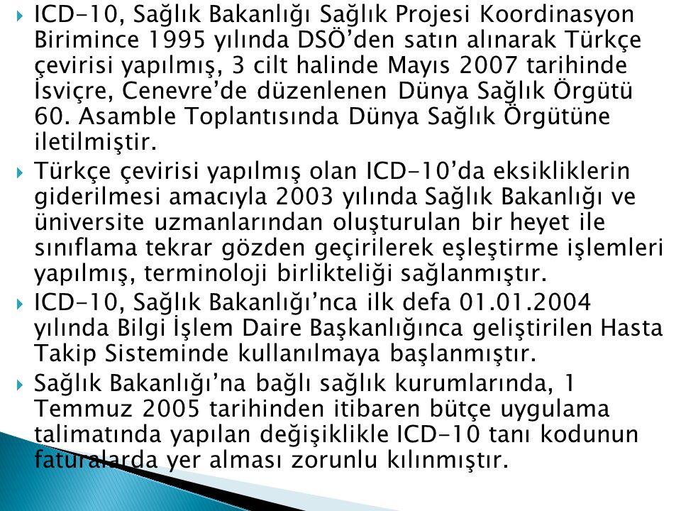  ICD-10, Sağlık Bakanlığı Sağlık Projesi Koordinasyon Birimince 1995 yılında DSÖ'den satın alınarak Türkçe çevirisi yapılmış, 3 cilt halinde Mayıs 20