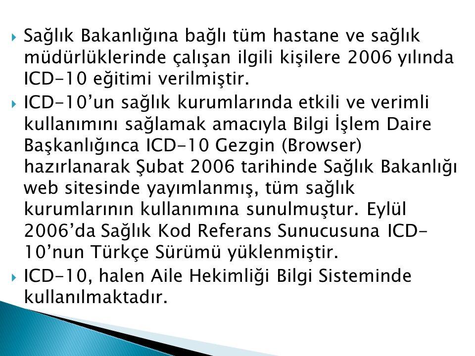  Sağlık Bakanlığına bağlı tüm hastane ve sağlık müdürlüklerinde çalışan ilgili kişilere 2006 yılında ICD-10 eğitimi verilmiştir.  ICD-10'un sağlık k