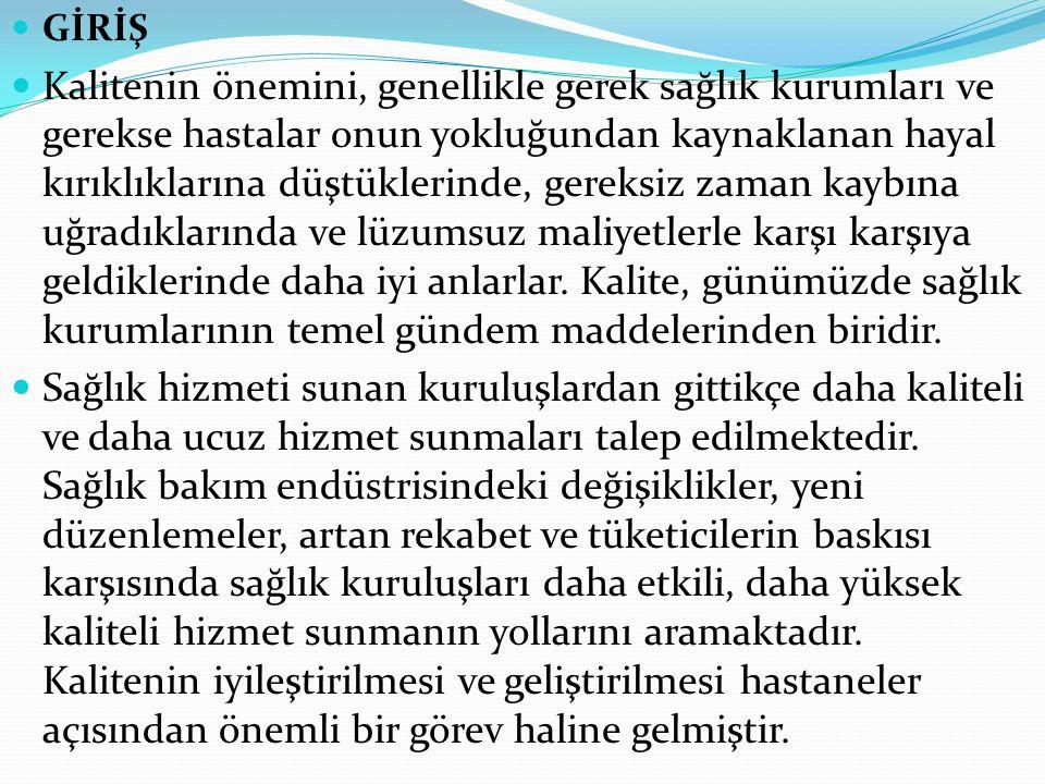 Türkiye'de Durum ABD'de kalitenin iyileştirilmesi konusundaki baskının çoğu pazara dayalı iken, diğer ülkelerde hükümet daha önemli rol oynamaktadır ve bu konudaki girişime hız kazandıran kuvvet daha fazla düzenleyici niteliktedir.