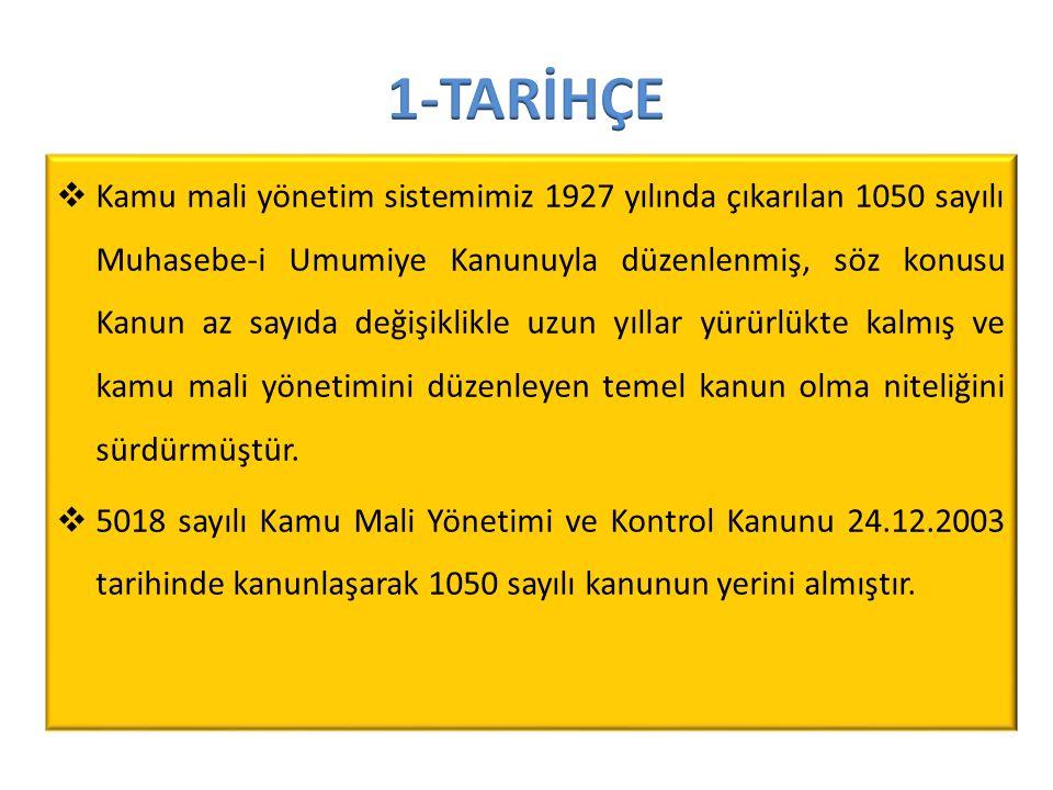  Kamu mali yönetim sistemimiz 1927 yılında çıkarılan 1050 sayılı Muhasebe-i Umumiye Kanunuyla düzenlenmiş, söz konusu Kanun az sayıda değişiklikle uz