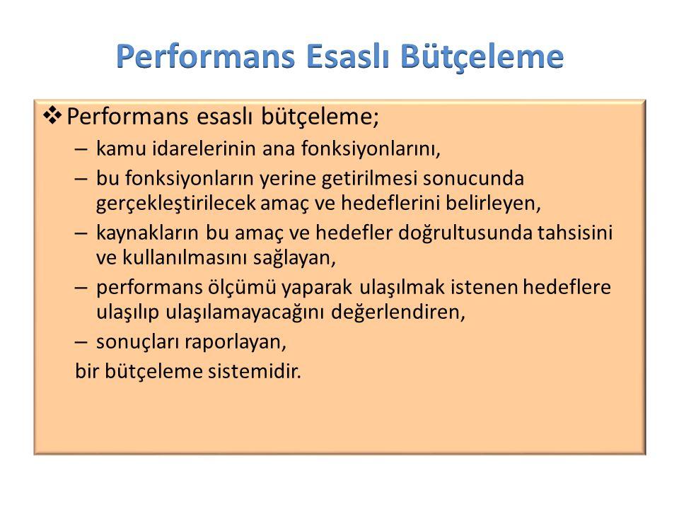  Performans esaslı bütçeleme; – kamu idarelerinin ana fonksiyonlarını, – bu fonksiyonların yerine getirilmesi sonucunda gerçekleştirilecek amaç ve he
