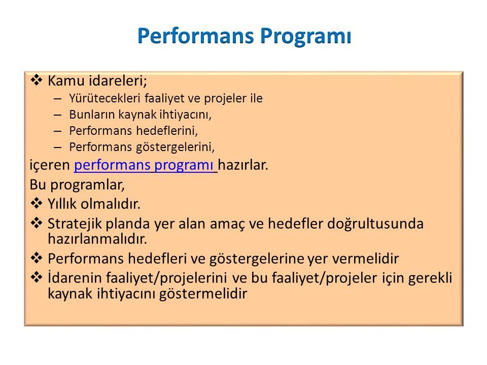  Kamu idareleri; – Yürütecekleri faaliyet ve projeler ile – Bunların kaynak ihtiyacını, – Performans hedeflerini, – Performans göstergelerini, içeren performans programı hazırlar.performansprogramı Bu programlar,  Yıllık olmalıdır.