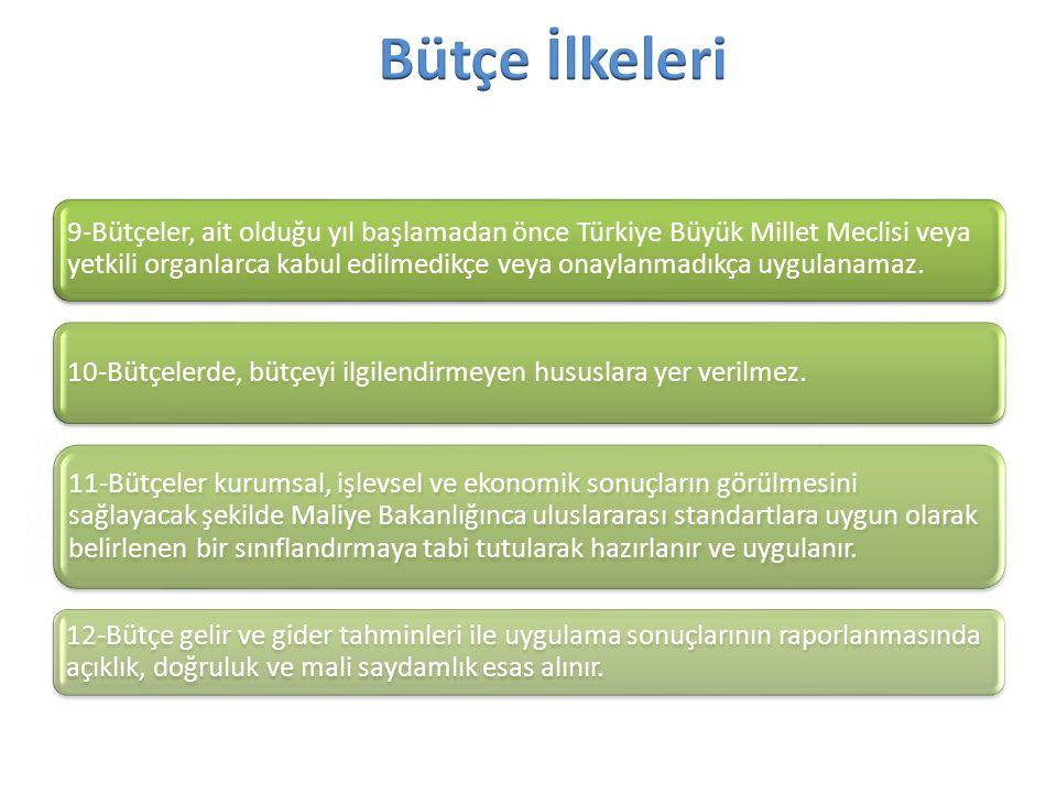 9-Bütçeler, ait olduğu yıl başlamadan önce Türkiye Büyük Millet Meclisi veya yetkili organlarca kabul edilmedikçe veya onaylanmadıkça uygulanamaz. 10-