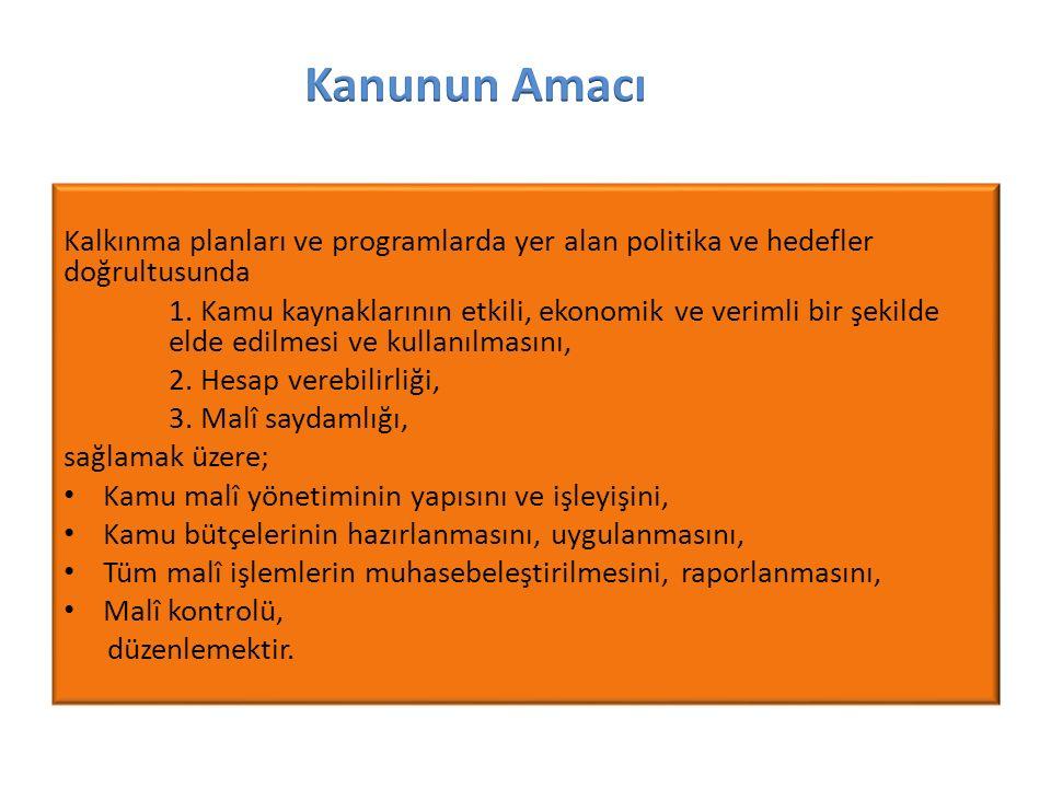 Kalkınma planları ve programlarda yer alan politika ve hedefler doğrultusunda 1.