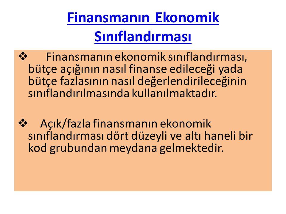 Finansmanın ekonomik sınıflandırması, bütçe açığının nasıl finanse edileceği yada bütçe fazlasının nasıl değerlendirileceğinin sınıflandırılmasında