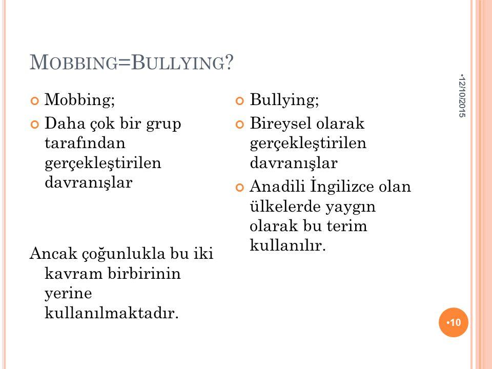M OBBING =B ULLYING ? Mobbing; Daha çok bir grup tarafından gerçekleştirilen davranışlar Ancak çoğunlukla bu iki kavram birbirinin yerine kullanılmakt