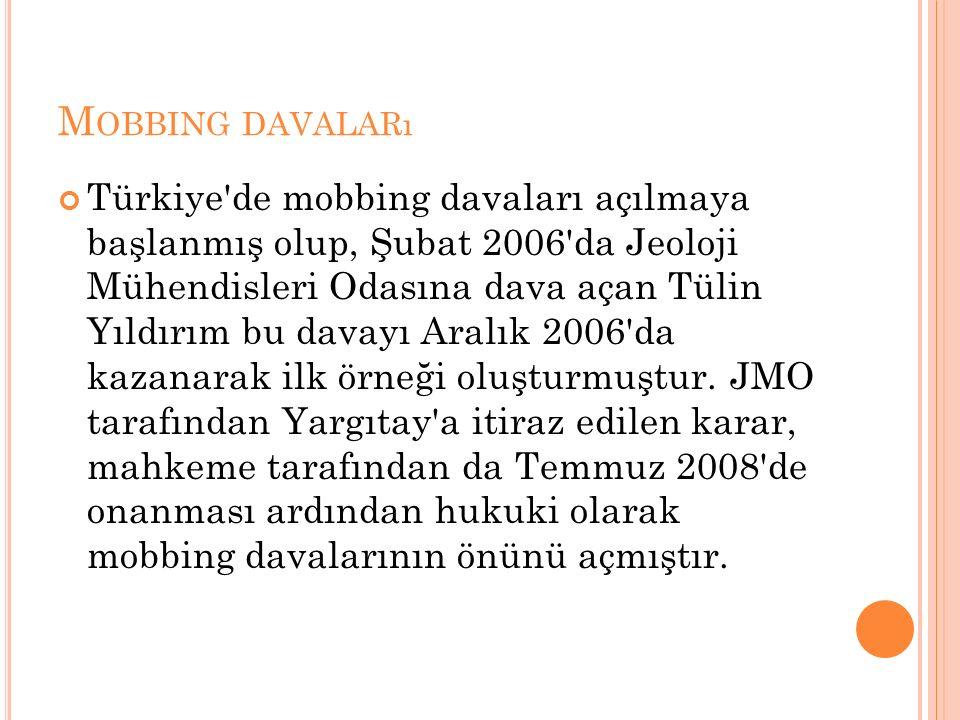 M OBBING DAVALARı Türkiye de mobbing davaları açılmaya başlanmış olup, Şubat 2006 da Jeoloji Mühendisleri Odasına dava açan Tülin Yıldırım bu davayı Aralık 2006 da kazanarak ilk örneği oluşturmuştur.