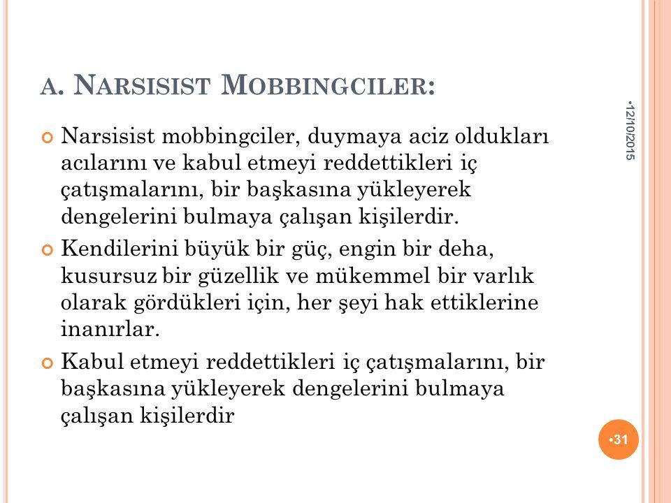 A. N ARSISIST M OBBINGCILER : Narsisist mobbingciler, duymaya aciz oldukları acılarını ve kabul etmeyi reddettikleri iç çatışmalarını, bir başkasına y