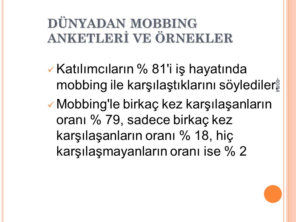 80/84 DÜNYADAN MOBBING ANKETLERİ VE ÖRNEKLER Katılımcıların % 81'i iş hayatında mobbing ile karşılaştıklarını söylediler. Mobbing'le birkaç kez karşıl