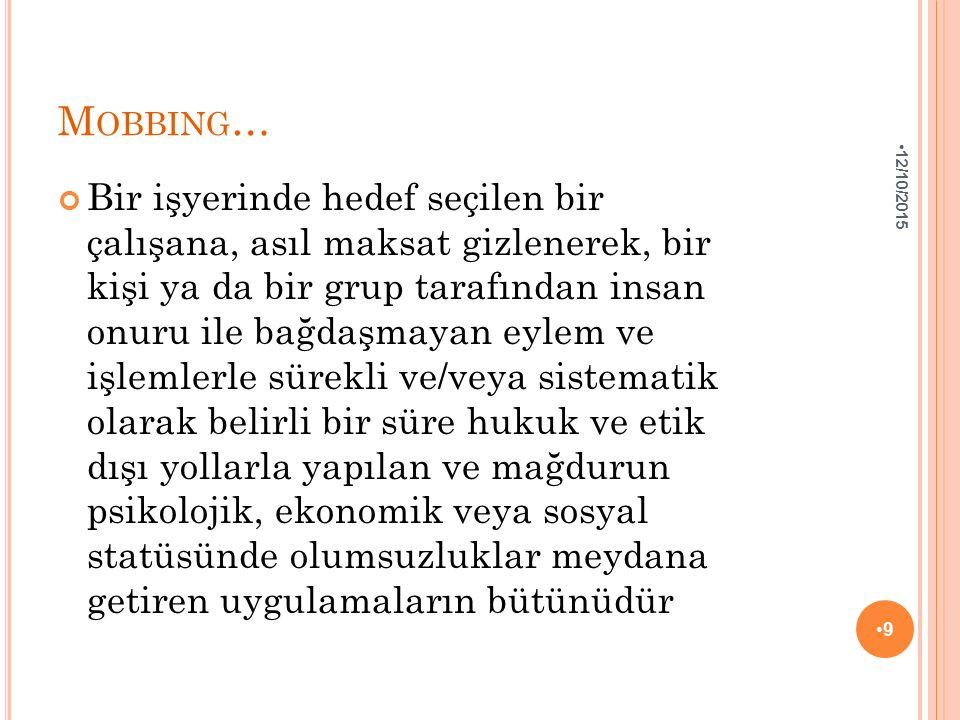 B ORÇLAR K ANUNU A ÇıSıNDAN M OBBING : 04 Şubat 2011'de kabul edilen 27836 sayılı Yeni Türk Borçlar Kanunu 6.