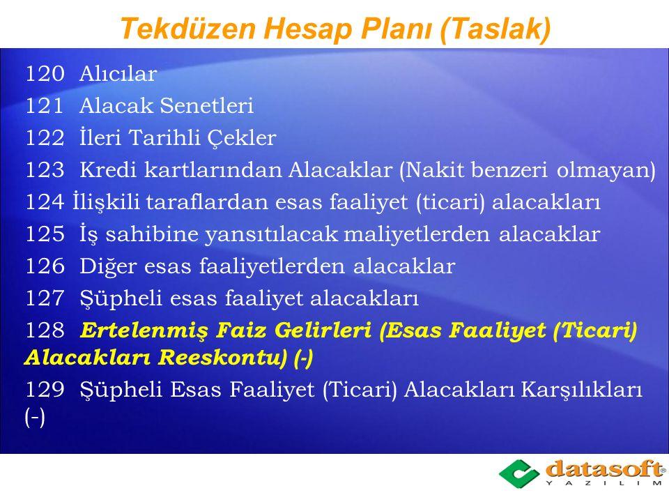 Tekdüzen Hesap Planı (Taslak) 100 Kasa 101 Alınan Çekler 102 Bankalar 103 Verilen Çekler ve Ödeme Emirleri (-) 104 105 Nakit Benzeri Yatırımlar 106 Ba