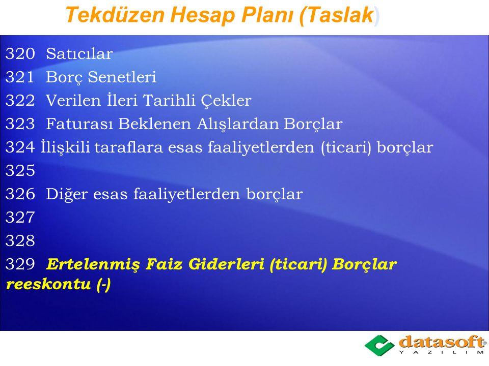 Tekdüzen Hesap Planı (Taslak) 120 Alıcılar 121 Alacak Senetleri 122 İleri Tarihli Çekler 123 Kredi kartlarından Alacaklar (Nakit benzeri olmayan) 124