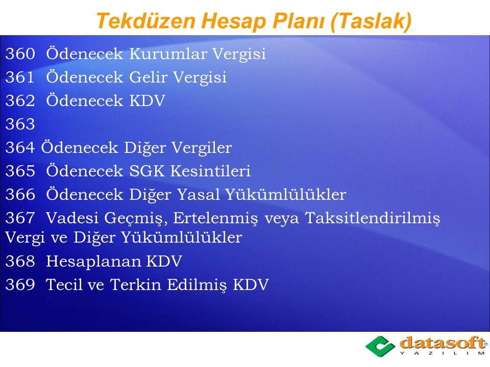 Tekdüzen Hesap Planı (Taslak) 320 Satıcılar 321 Borç Senetleri 322 Verilen İleri Tarihli Çekler 323 Faturası Beklenen Alışlardan Borçlar 324 İlişkili