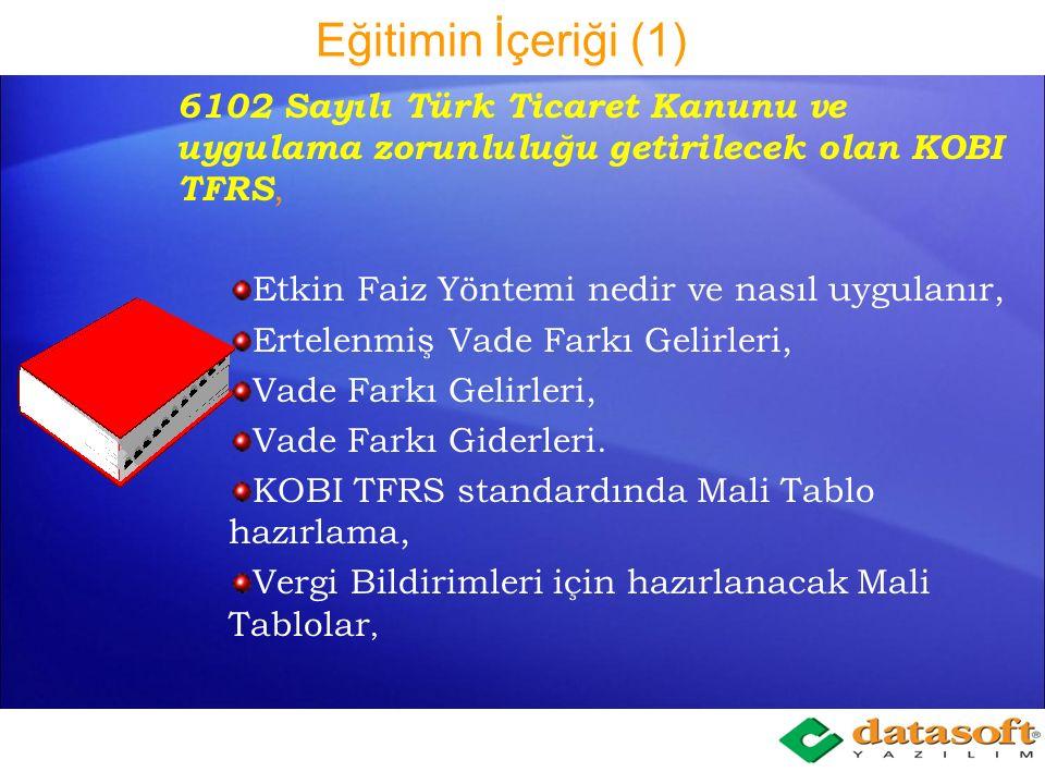 Eğitimin İçeriği (11) KDV1 Beyannamenin 117 numaralı KDV Sirküsüne uygun olarak düzenlenmesi Tevkifat Grupları Tanımı bölümünde, tanımlı olan KDV gruplarının (gelir) Tevkifat tür kodları ve bu koda uygun oranlarının seçiminin yapılması Gelir bölümüne Satış hareketi oluşturma aşamasında seçilen KDV grup kodu tevkifat tür kodları ile ilişkilendirilmiş ise, açılan bir pencereden belge seri numarasını ve satıcının cari hesabının seçilmesi, cari hesap tanımlı değil ise pencere içerisinde tanımlanması, KDV1 Beyannamesinin Tablo II Kısmi tevkifata tabi işlemler bölümünün gelir hareketlerinden otomatik oluşturulması,