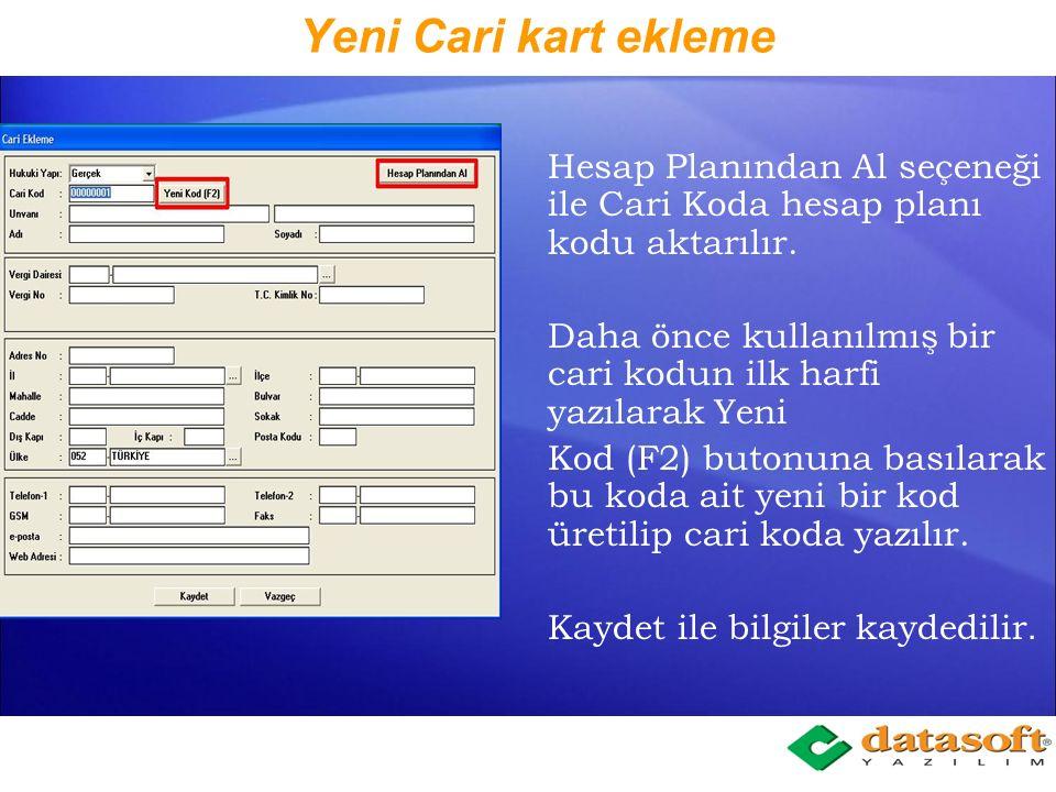 GM-Cari Kart Tanımlama Hesap Planı çalışma ekranında iken, Hesap Cinsi satırının sağına yeni eklenen Cari Kodu alanına gelinip F1 fonksiyon tuşuna basılır.