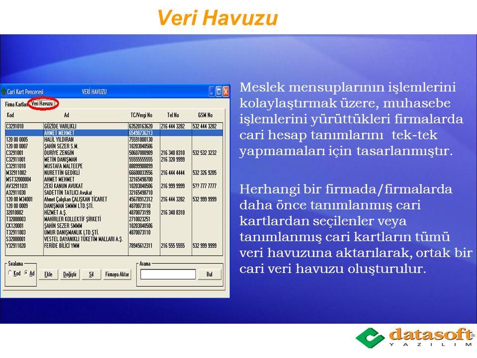 Firma Kartları Sekmesi Tabloda firmadaki cari kartların; Kodu Adı, Soyadı, Unvanı TC/Vergi Numarası Telefon numarası GSM Numarası gözükmektedir.