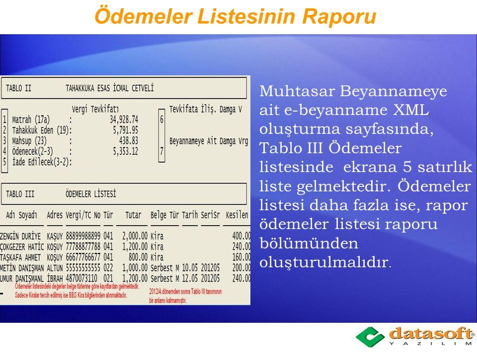 Ödemeler Listesinin Raporu Muhtasar Beyanname Menüsünde, Ödemeler Listesi seçeneğinden tarih aralığı verilerek ödemeler listesi raporlanır. Ödemeler L