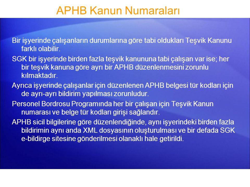 APHB Meslek Kodları SGK 01/11/2012 tarihinde yayınladığı duyuru ile Kasım 2012 ayına ait Aylık Prim ve Hizmet Belgesinden başlanmak üzere, Kuruma verilecek APHB XML dosyalarına çalışanlara ait Meslek Kodlarının da bildirilme zorunluluğu getirilmiştir.