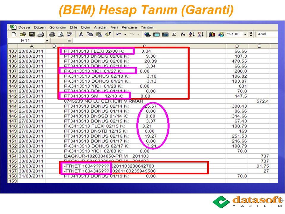 (BEM) Ekstre Verilerini Muhasebeleştirme Bankalardan gelen ekstrelerin rahat bulunabilmesi için kullanıcı kendisine bir metot bulmalıdır.