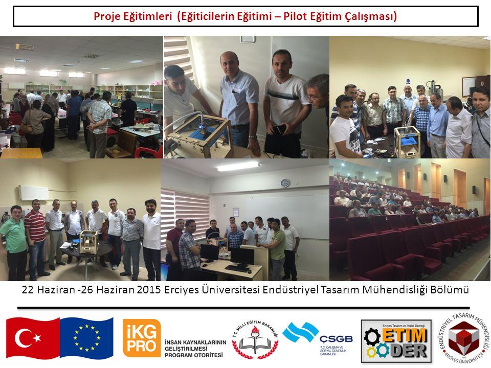 17 Proje Eğitimleri (Eğiticilerin Eğitimi – Pilot Eğitim Çalışması) 22 Haziran -26 Haziran 2015 Erciyes Üniversitesi Endüstriyel Tasarım Mühendisliği Bölümü