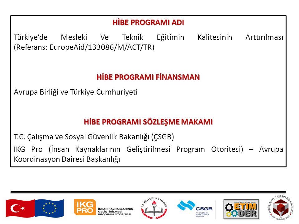 HİBE PROGRAMI ADI Türkiye'de Mesleki Ve Teknik Eğitimin Kalitesinin Arttırılması (Referans: EuropeAid/133086/M/ACT/TR) HİBE PROGRAMI FİNANSMAN Avrupa Birliği ve Türkiye Cumhuriyeti HİBE PROGRAMI SÖZLEŞME MAKAMI T.C.
