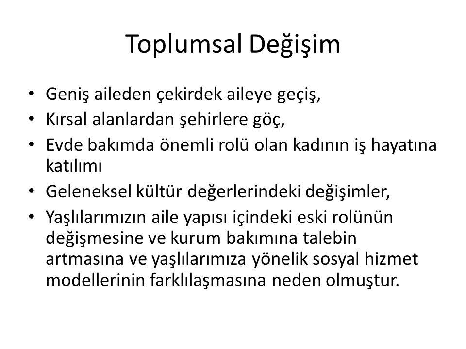 Yaşlı Bakımı Türkiye genelinde bugün toplam yaklaşık 300 (tam sayı 287) huzurevi bulunmakta, bunların 105'i ASPB'na bağlı olarak hizmet vermektedir.