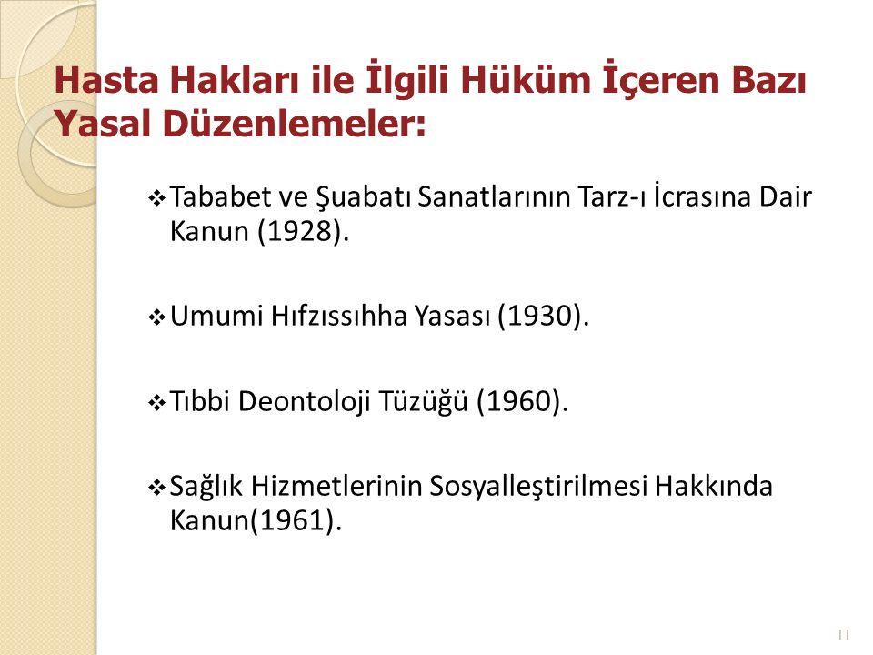 Hasta Hakları ile İlgili Hüküm İçeren Bazı Yasal Düzenlemeler:  Tababet ve Şuabatı Sanatlarının Tarz-ı İcrasına Dair Kanun (1928).