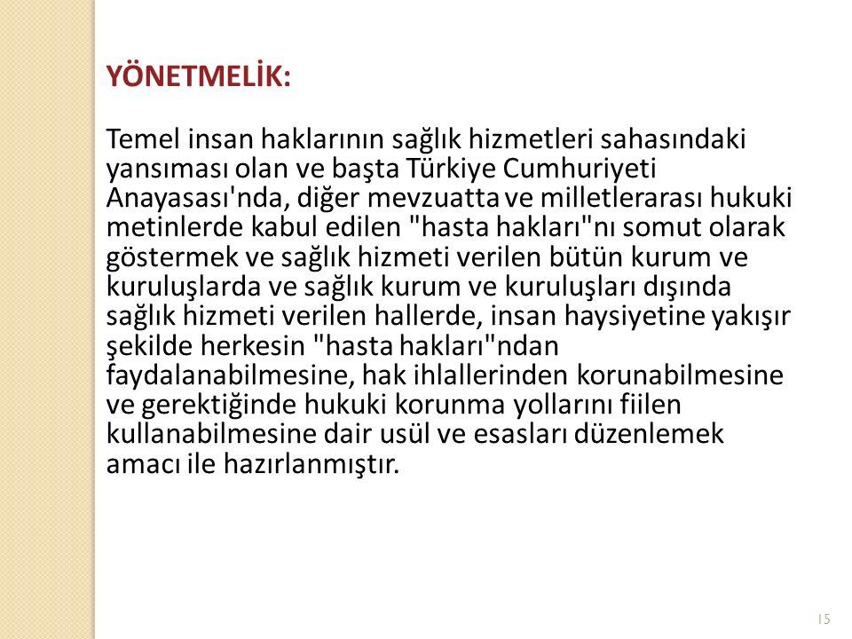 YÖNETMELİK: Temel insan haklarının sağlık hizmetleri sahasındaki yansıması olan ve başta Türkiye Cumhuriyeti Anayasası'nda, diğer mevzuatta ve milletl