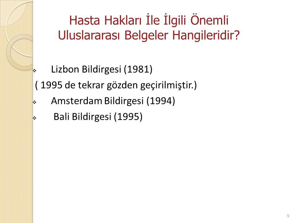Hasta Hakları İle İlgili Önemli Uluslararası Belgeler Hangileridir?  Lizbon Bildirgesi (1981) ( 1995 de tekrar gözden geçirilmiştir.)  Amsterdam Bil
