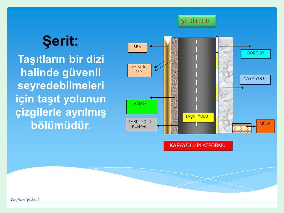 Şerit: Taşıtların bir dizi halinde güvenli seyredebilmeleri için taşıt yolunun çizgilerle ayrılmış bölümüdür.