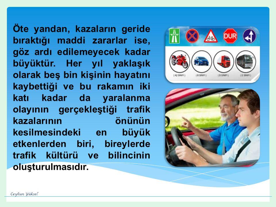 Ülkemizde trafik eğitimi konusunda 30 Mayıs 2012 tarihinde gerçekleştirilen Karayolu Güvenliği Yüksek Kurulu toplantısında  Karayolu Trafik Güvenliği 10 Yıllık Eylem Planı nı uygulamaya konulmuştur.