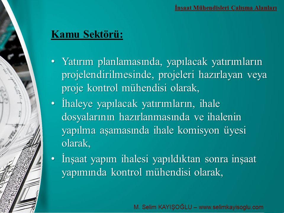 Kamu Sektörü: Yatırım planlamasında, yapılacak yatırımların projelendirilmesinde, projeleri hazırlayan veya proje kontrol mühendisi olarak, Yatırım pl