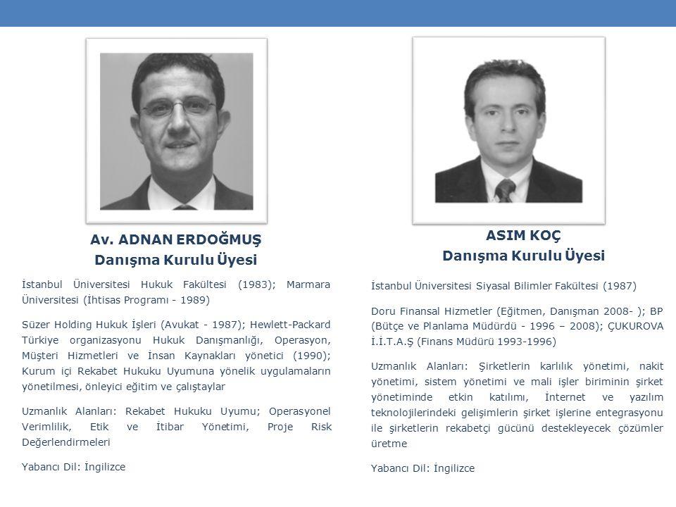 ASIM KOÇ Danışma Kurulu Üyesi İstanbul Üniversitesi Siyasal Bilimler Fakültesi (1987) Doru Finansal Hizmetler (Eğitmen, Danışman 2008- ); BP (Bütçe ve Planlama Müdürdü - 1996 – 2008); ÇUKUROVA İ.İ.T.A.Ş (Finans Müdürü 1993-1996) Uzmanlık Alanları: Şirketlerin karlılık yönetimi, nakit yönetimi, sistem yönetimi ve mali işler biriminin şirket yönetiminde etkin katılımı, İnternet ve yazılım teknolojilerindeki gelişimlerin şirket işlerine entegrasyonu ile şirketlerin rekabetçi gücünü destekleyecek çözümler üretme Yabancı Dil: İngilizce Av.