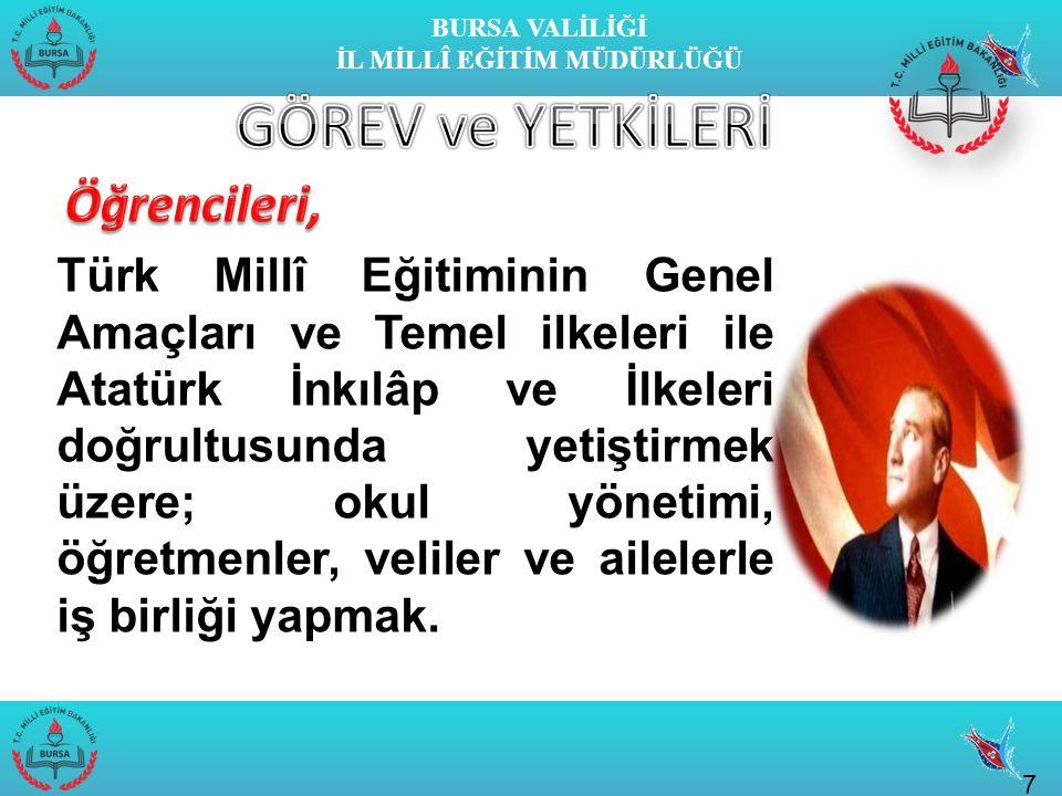 BURSA VALİLİĞİ İL MİLLÎ EĞİTİM MÜDÜRLÜĞÜ 7 Türk Millî Eğitiminin Genel Amaçları ve Temel ilkeleri ile Atatürk İnkılâp ve İlkeleri doğrultusunda yetiştirmek üzere; okul yönetimi, öğretmenler, veliler ve ailelerle iş birliği yapmak.