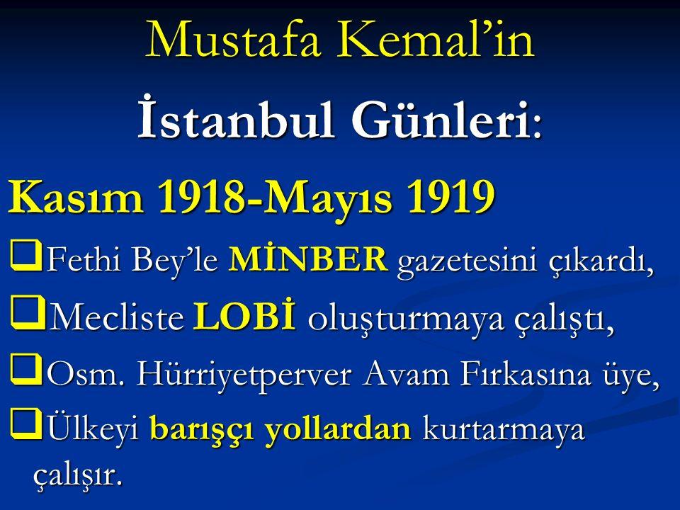 Mustafa Kemal'in İstanbul Günleri: Kasım 1918-Mayıs 1919  Fethi Bey'le MİNBER gazetesini çıkardı,  Mecliste LOBİ oluşturmaya çalıştı,  Osm. Hürriye